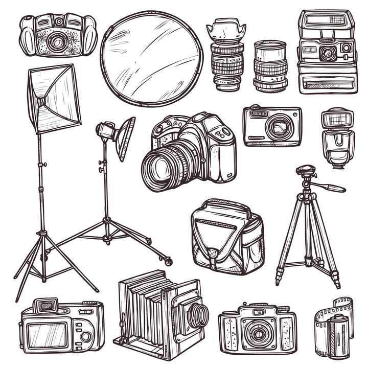 手绘棕色素描风格摄影师装备单反照相机等免扣图片素材