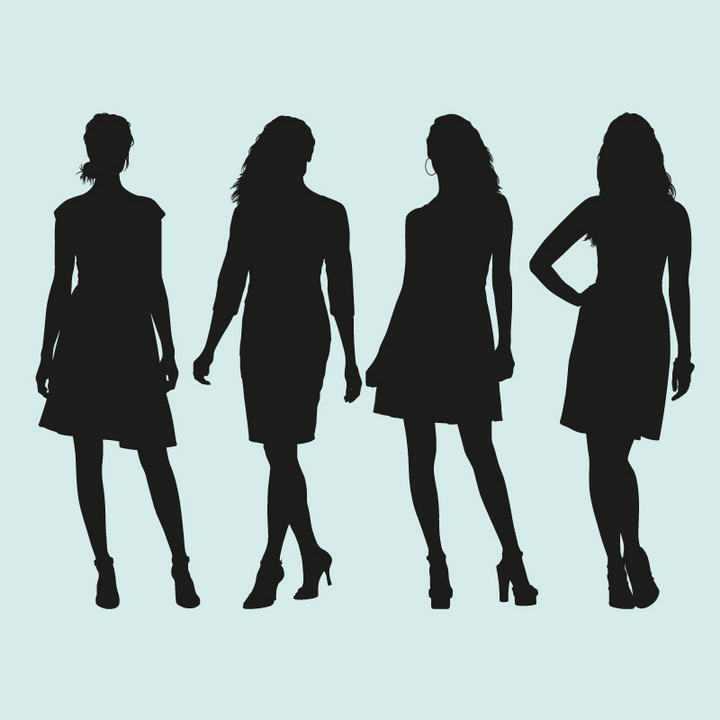 四个不同风格的职业装女性美女剪影免扣图片素材