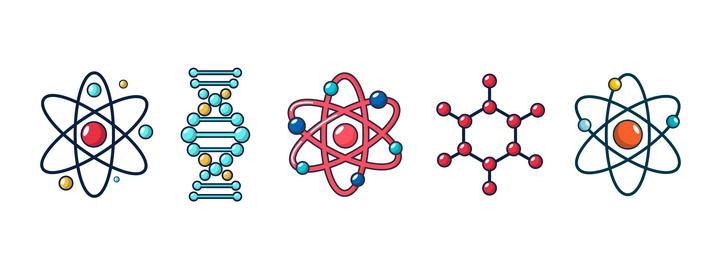 5款可爱创意原子和DNA高科技图标免扣图片素材
