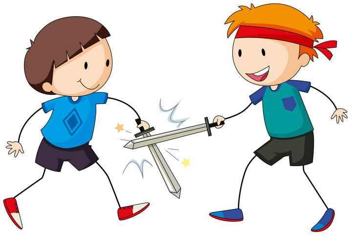 两个卡通可爱的小男孩正在玩击剑免扣图片素材