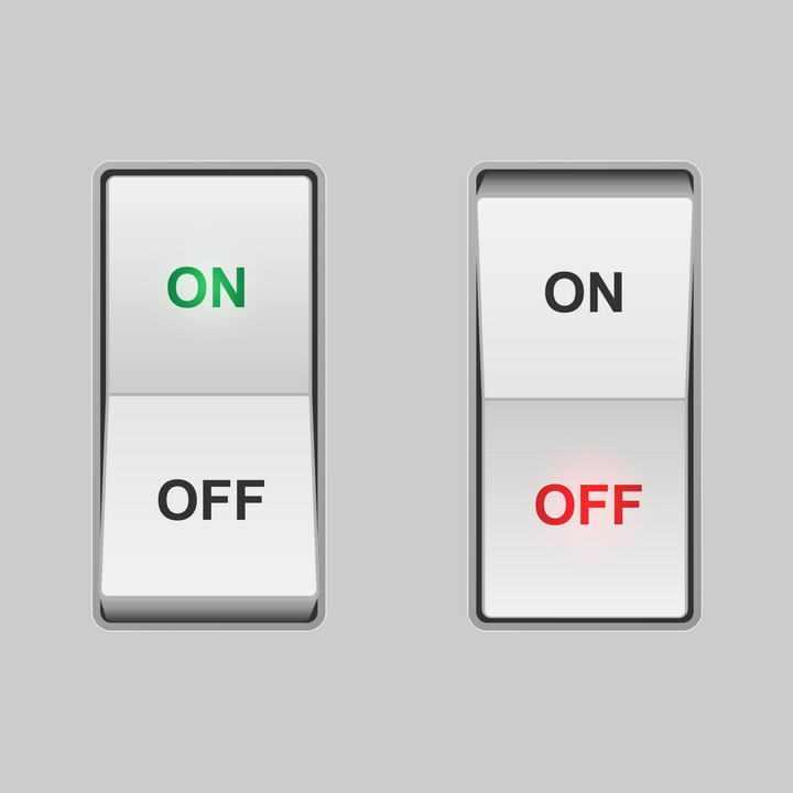逼真的发光立体开关按钮免扣图片素材