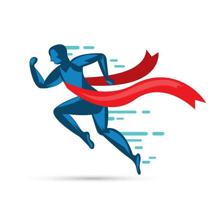 扁平化风格冲向终点线的跑步者运动图片免抠素材