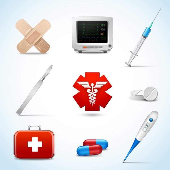 9款逼真的医疗医学用品创口贴注射器手术刀胶囊等免扣图片素材