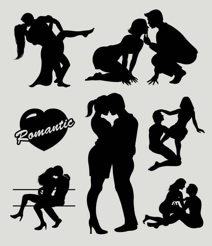 6款调情亲吻拥抱在一起的情侣人物剪影免扣图片素材