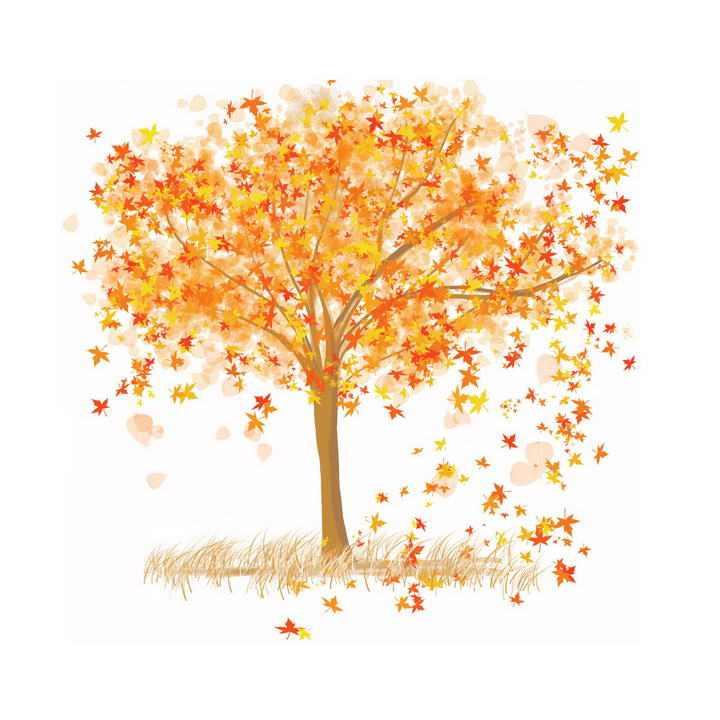 手绘风格秋天树木上掉落的枯黄树叶免抠PNG图片素材