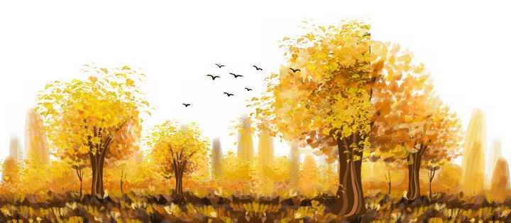 油画水彩画风格秋天发黄的树林风景图免抠PNG图片素材