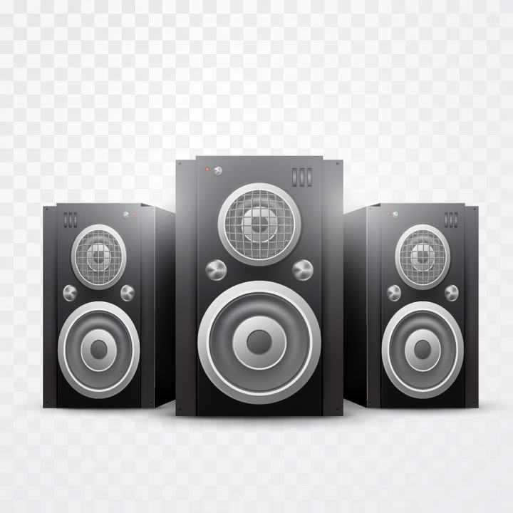 三个逼真的黑色和银色音响音箱喇叭免抠矢量图片素材