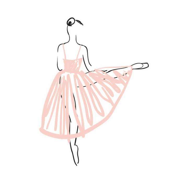 手绘涂鸦线条风格粉色长裙芭蕾舞舞者展示效果免抠矢量图片素材