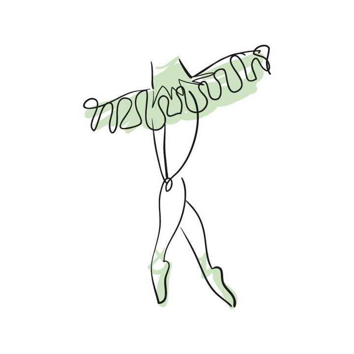 手绘涂鸦线条风格绿色芭蕾舞舞裙展示效果免抠矢量图片素材