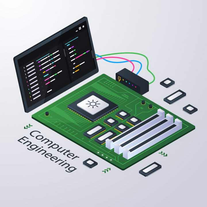2.5D风格平板电脑测试电路板示意图免抠矢量图片素材
