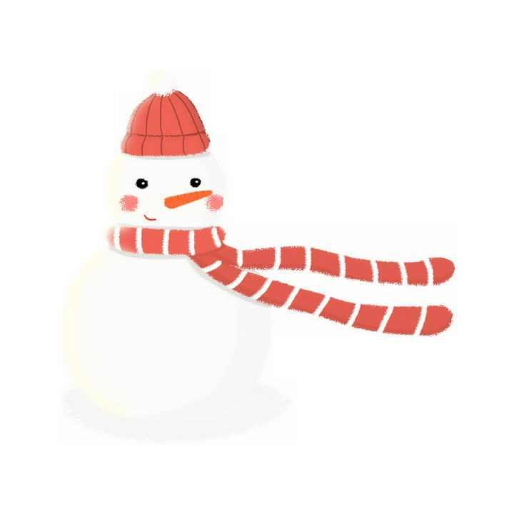 冬天戴着围巾的可爱卡通雪人免抠PNG图片素材