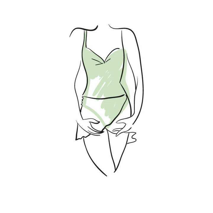 手绘涂鸦线条风格绿色内衣模特展示效果免抠矢量图片素材
