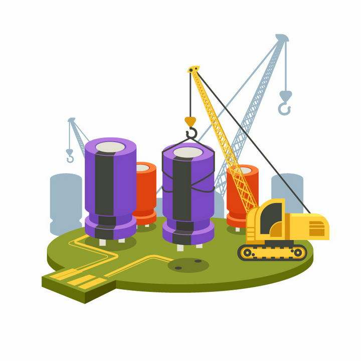 创意立体风格正在吊装电容器的电路板微观元素免抠矢量图片素材