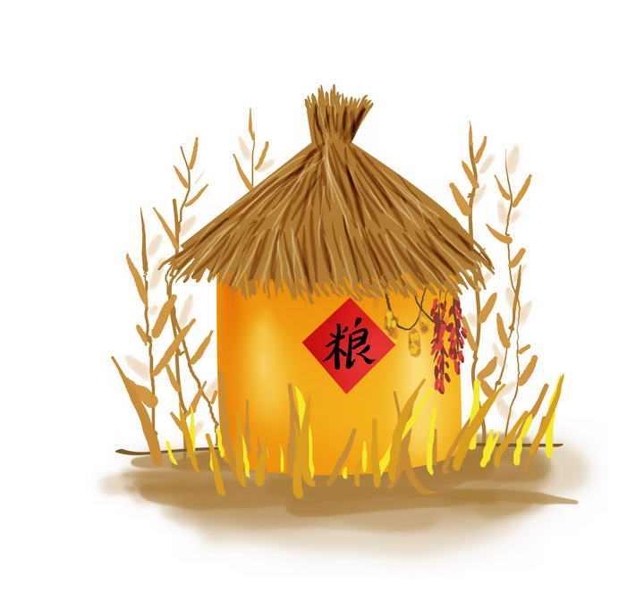 手绘风格秋天丰收的粮仓免抠PNG图片素材
