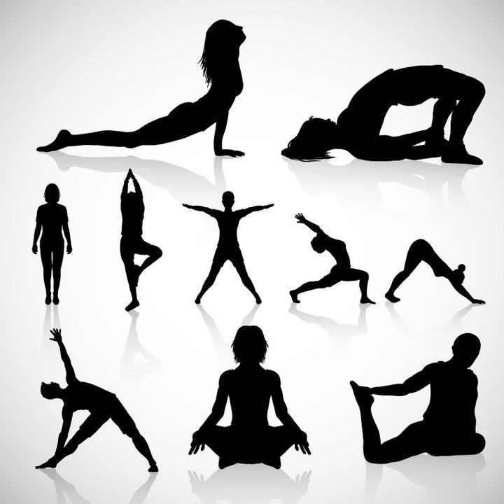 各种练瑜伽的美女剪影免抠矢量图片素材