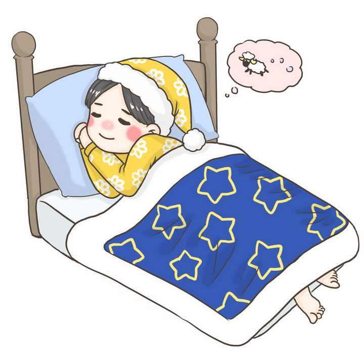 冬天晚上躲在被窝里睡觉的卡通小女孩免抠PNG图片素材