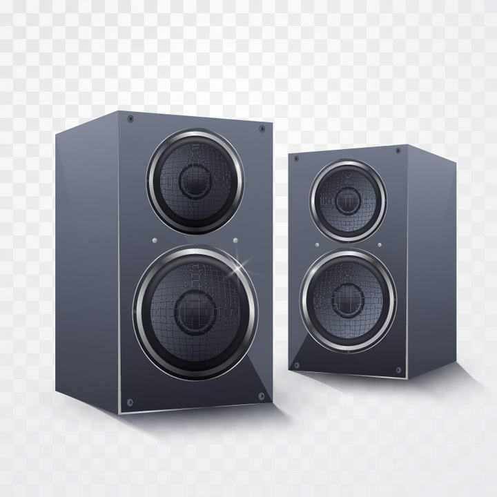 两个逼真的黑色音响音箱喇叭免抠矢量图片素材
