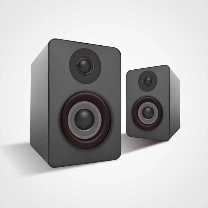 立体风格纯黑色的音响音箱免抠矢量图片素材