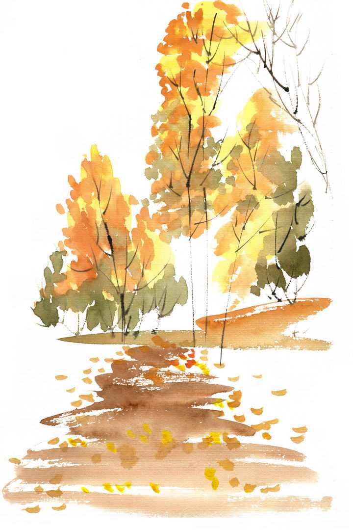 水墨画风格秋天的树林和小路风景图免抠PNG图片素材