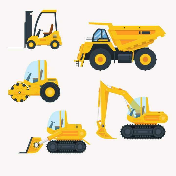 五款叉车压路机铲车推土机等工程车辆侧视图免抠矢量图片素材