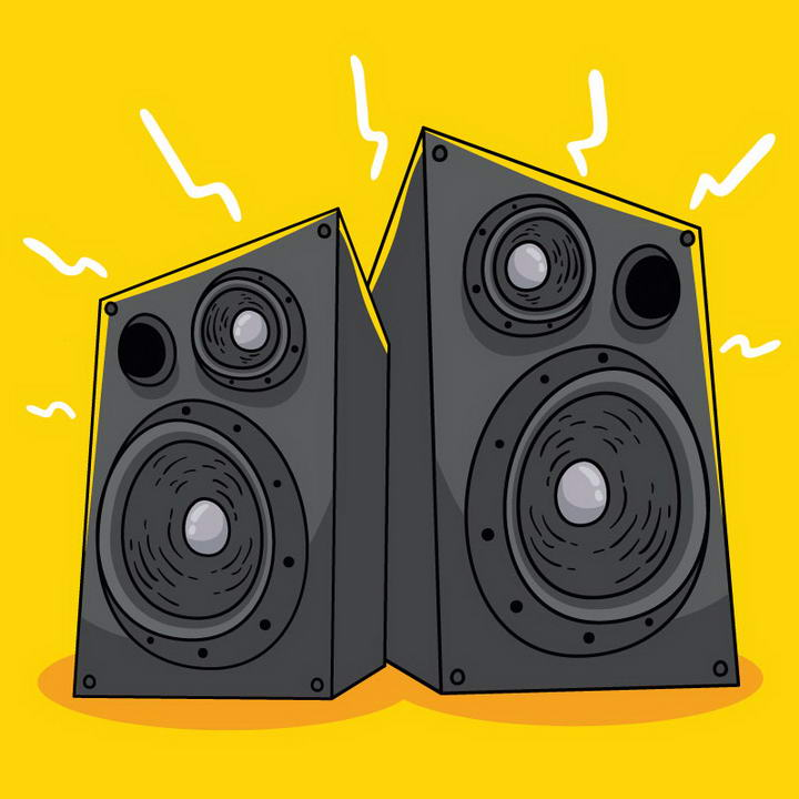 手绘风格发出声响的两个音响喇叭免抠矢量图片素材