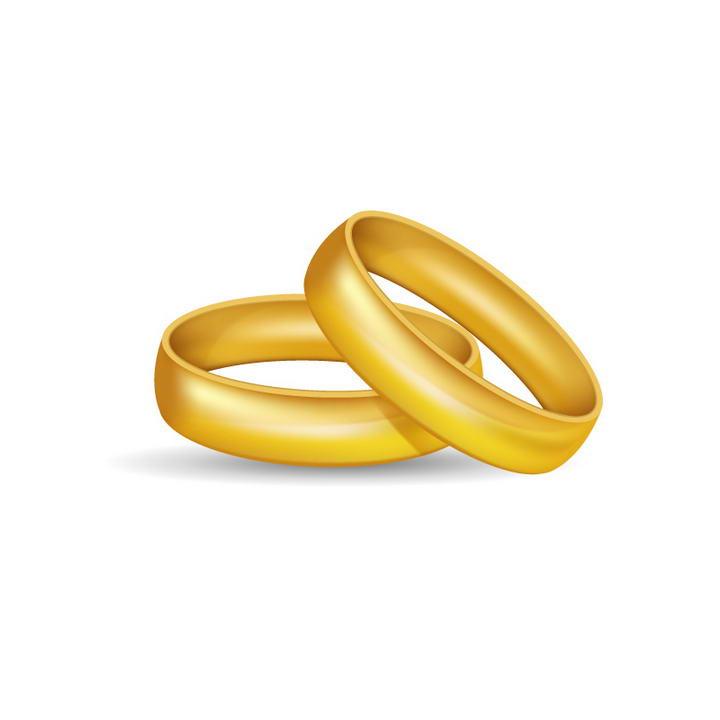 两颗黄金戒指结婚戒指免抠矢量图片素材