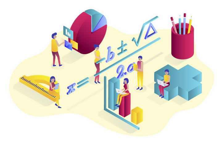 创意立体数学教学元素免抠矢量图片素材