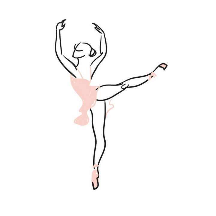 手绘涂鸦线条风格粉色芭蕾舞舞者展示效果免抠矢量图片素材