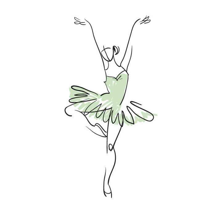 手绘涂鸦线条风格绿色芭蕾舞舞者展示效果免抠矢量图片素材