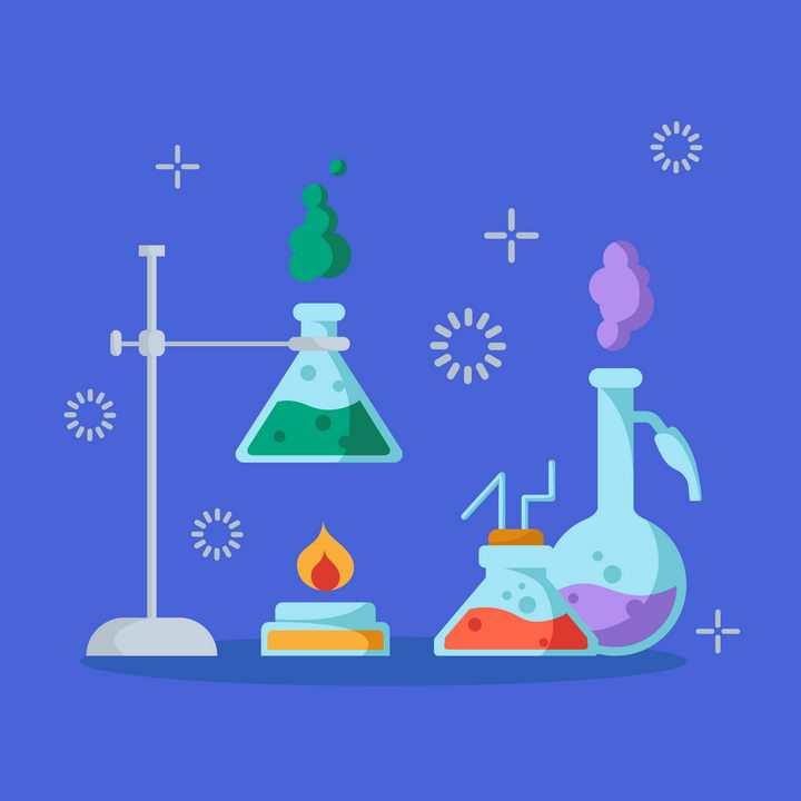 扁平化风格正在进行中的化学实验插图图片免抠矢量图