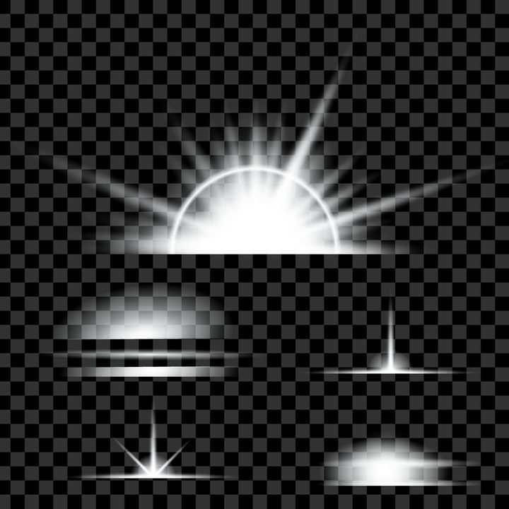 5种白色发光效果图片免抠矢量图