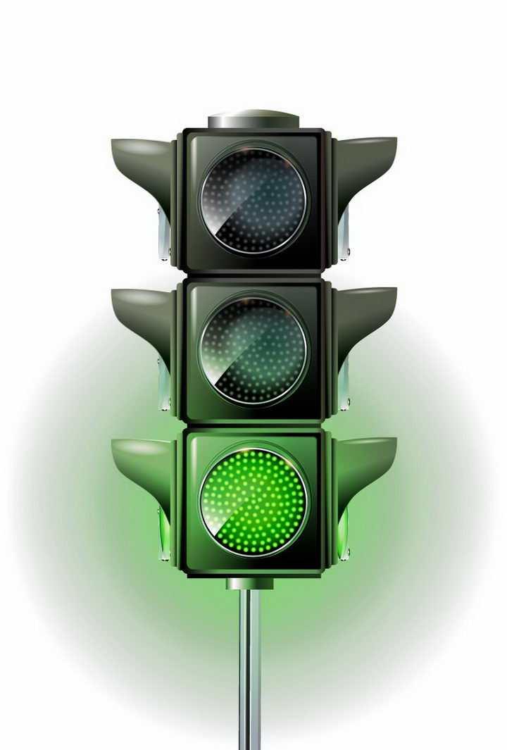 竖杆状绿灯亮的红绿灯交通信号灯免抠png图片矢量图素材