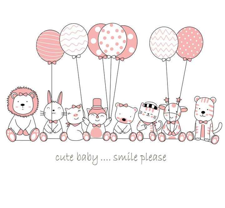 可爱的卡通小动物们拿着几个气球图片免抠素材