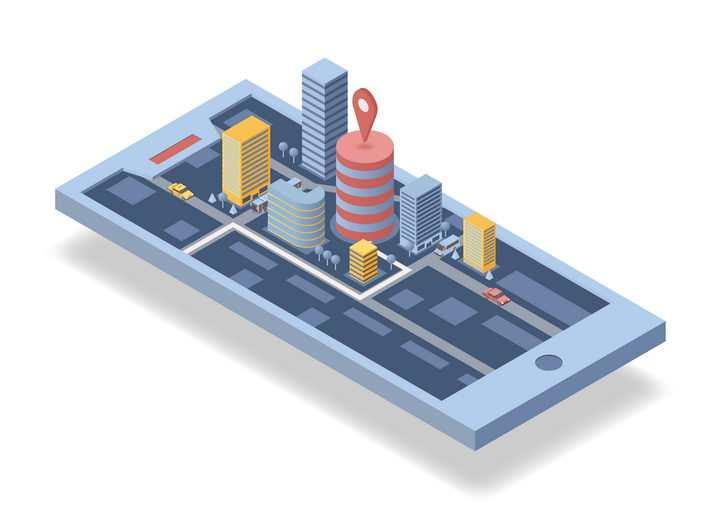 2.5D风格手机上的城市智能城市导航配图图片免抠素材