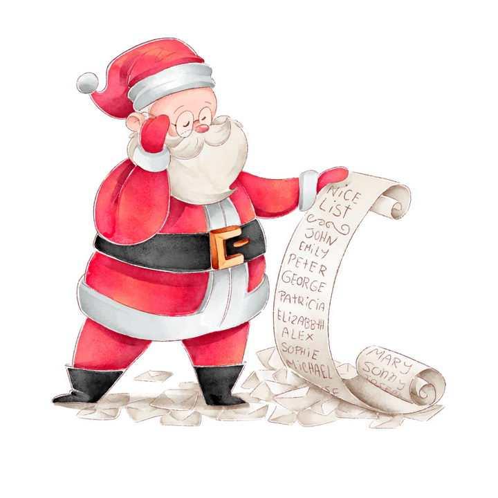 手绘卡通风格正在查看礼物清单的圣诞老人图片免抠矢量图