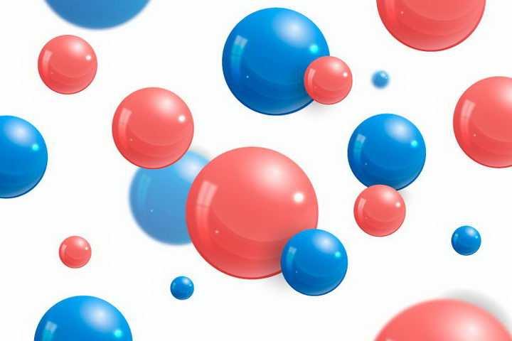 创意悬浮红色蓝色圆球装饰免抠png图片矢量图素材