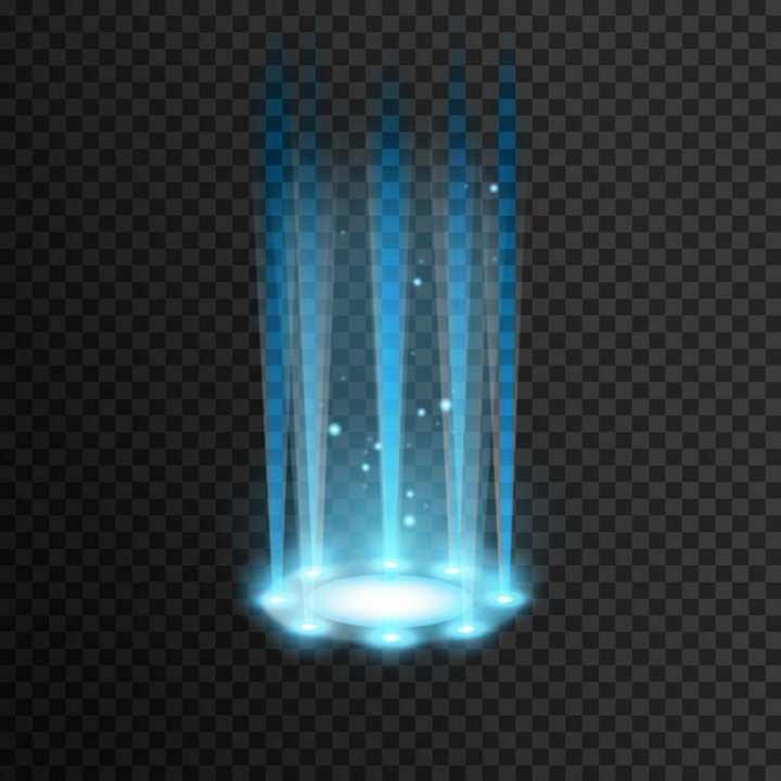 蓝色射光发光效果舞台灯光效果多光源矢量图片免抠素材