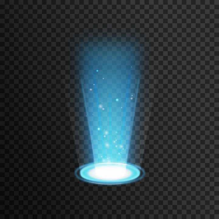蓝色射光发光效果舞台灯光效果单光源矢量图片免抠素材