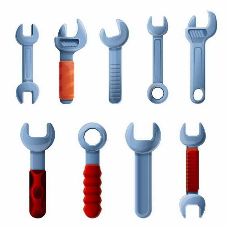 9款各种不同形状的扳手工具免抠png图片矢量图素材