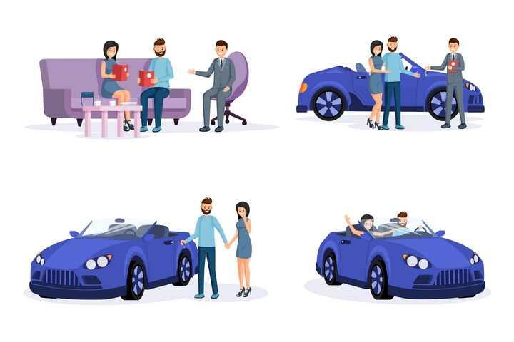 扁平化风格夫妻两个购买汽车的流程图图片免抠素材