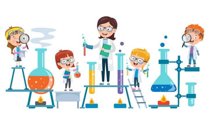 卡通风格正在做化学实验的老师和学生图片免抠矢量图