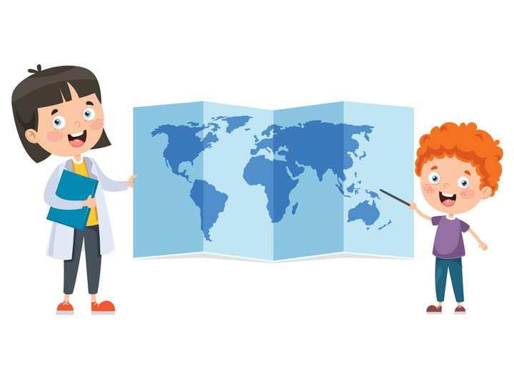 卡通老师学生世界地图地理教学图片免抠矢量图