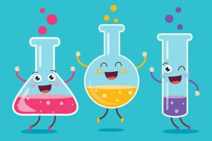 卡通风格的烧杯烧瓶试管等化学实验用品图片免抠矢量图