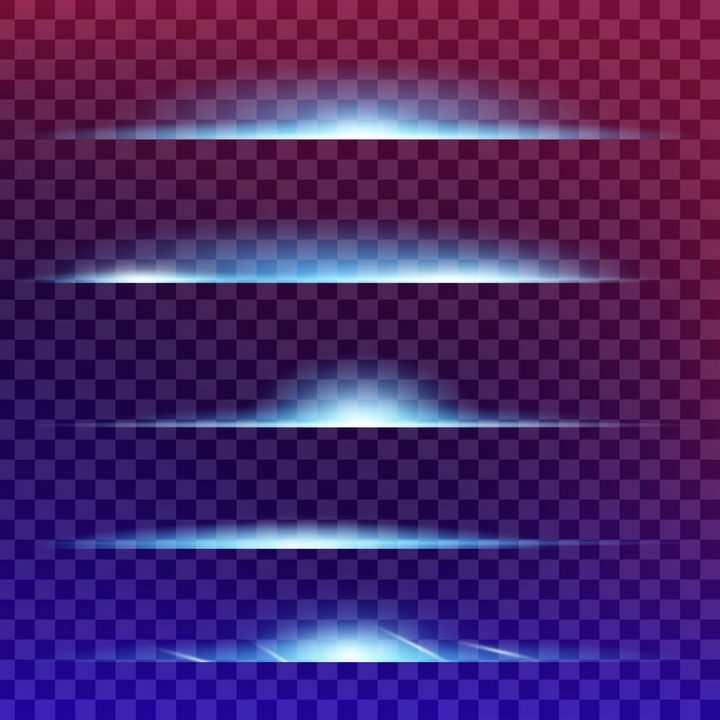 5种蓝白色地面发光效果图图片免抠矢量图