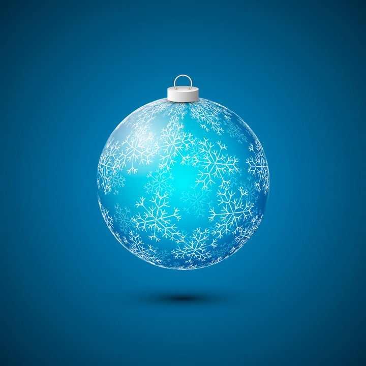 漂亮的蓝色水晶球圣诞球图片免抠矢量图