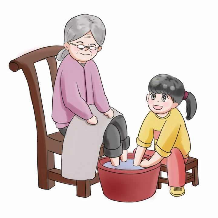 手绘卡通风格给奶奶洗脚重阳节敬老png免抠图片