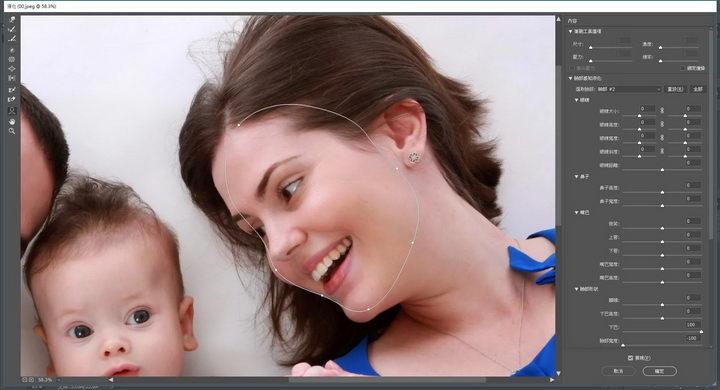 值得注意的是,就算是侧脸也可以被侦测的到,并且调整脸型时,会依照侧脸的面积大小不同的比例缩放,相当方便。