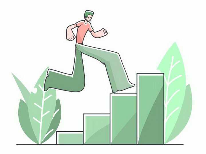 夸张手法的手绘在台阶上奔跑的男孩免抠png图片矢量图素材