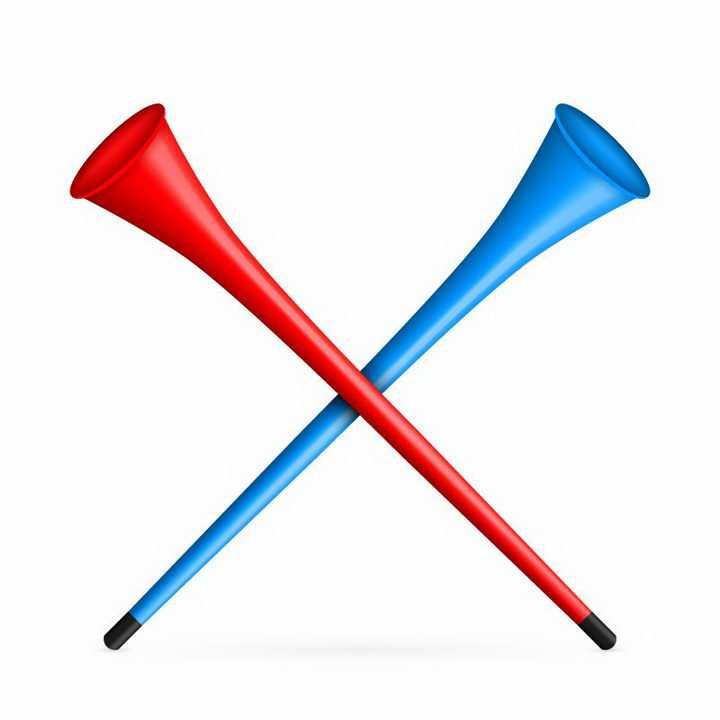 红蓝色交叉的胜利的号角免抠png图片矢量图素材