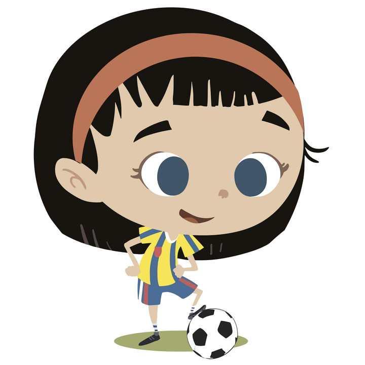 手绘卡通风格踢足球的小女孩图片免抠矢量图